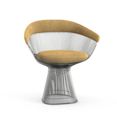 Platner Arm Chair Side/Dining Knoll Polished Nickel Camel Circa