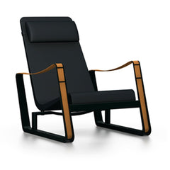 Prouve Cite Chair by Vitra lounge chair Vitra deep black black Upholstery hard glides (standard)