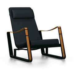 Prouve Cite Chair by Vitra lounge chair Vitra deep black Black leather Upholstery hard glides (standard)