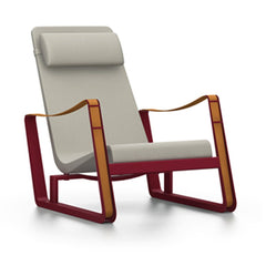 Prouve Cite Chair by Vitra lounge chair Vitra Japanese red beige Upholstery hard glides (standard)