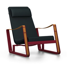 Prouve Cite Chair by Vitra lounge chair Vitra Japanese red Black leather Upholstery hard glides (standard)