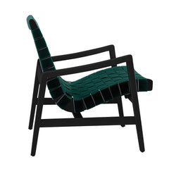 Risom Armchair lounge chair Knoll Ebonized Maple Forest Green Cotton Webbing