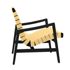Risom Armchair lounge chair Knoll Ebonized Maple Maize Cotton Webbing