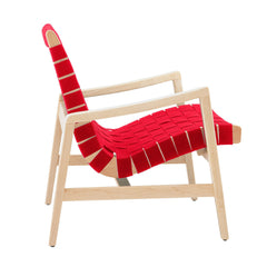 Risom Armchair lounge chair Knoll Clear Maple Red Cotton Webbing