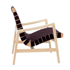 Risom Armchair lounge chair Knoll Clear Maple Aubergine Cotton Webbing