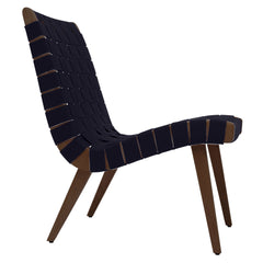 Risom Lounge Chair lounge chair Knoll Light Walnut +$51.00 Navy Cotton Webbing