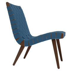 Risom Lounge Chair lounge chair Knoll Light Walnut +$51.00 Steel Blue Cotton Webbing