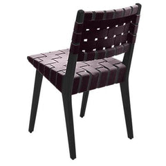 Risom Side Chair with Webbed Back Side/Dining Knoll Ebonized Maple Aubergine Cotton Webbing