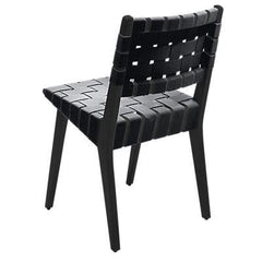 Risom Side Chair with Webbed Back Side/Dining Knoll Ebonized Maple Black Cotton Webbing