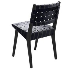 Risom Side Chair with Webbed Back Side/Dining Knoll Ebonized Maple Dark Grey Cotton Webbing