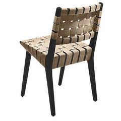 Risom Side Chair with Webbed Back Side/Dining Knoll Ebonized Maple Flax Cotton Webbing