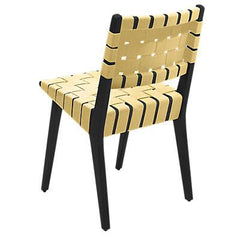 Risom Side Chair with Webbed Back Side/Dining Knoll Ebonized Maple Maize Cotton Webbing