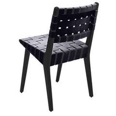 Risom Side Chair with Webbed Back Side/Dining Knoll Ebonized Maple Navy Cotton Webbing