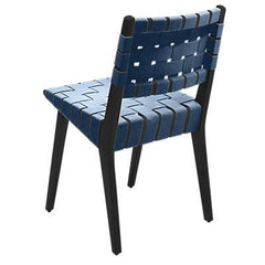 Risom Side Chair with Webbed Back Side/Dining Knoll Ebonized Maple Steel Blue Cotton Webbing