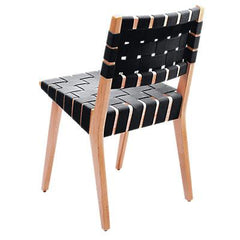 Risom Side Chair with Webbed Back Side/Dining Knoll Maple Black Cotton Webbing