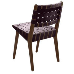 Risom Side Chair with Webbed Back Side/Dining Knoll Light Walnut Aubergine Cotton Webbing