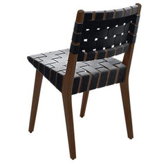 Risom Side Chair with Webbed Back Side/Dining Knoll Light Walnut Black Cotton Webbing