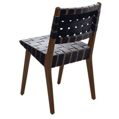 Risom Side Chair with Webbed Back Side/Dining Knoll Light Walnut Dark Grey Cotton Webbing