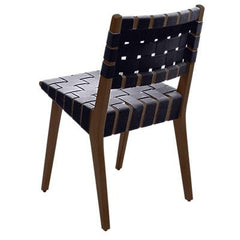 Risom Side Chair with Webbed Back Side/Dining Knoll Light Walnut Navy Cotton Webbing