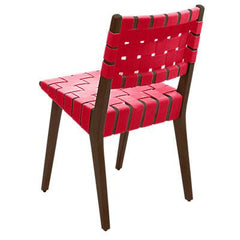 Risom Side Chair with Webbed Back Side/Dining Knoll Light Walnut Red Cotton Webbing