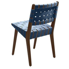 Risom Side Chair with Webbed Back Side/Dining Knoll Light Walnut Steel Blue Cotton Webbing