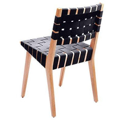 Risom Side Chair with Webbed Back Side/Dining Knoll Maple Navy Cotton Webbing