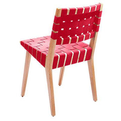 Risom Side Chair with Webbed Back Side/Dining Knoll Maple Red Cotton Webbing