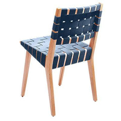 Risom Side Chair with Webbed Back Side/Dining Knoll Maple Steel Blue Cotton Webbing
