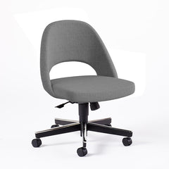Saarinen Executive Armless Chair with Swivel Base Side/Dining Knoll Hard Classic Boucle - Smoke