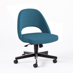 Saarinen Executive Armless Chair with Swivel Base Side/Dining Knoll Hard Classic Boucle - Aegean