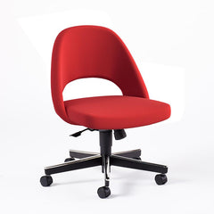 Saarinen Executive Armless Chair with Swivel Base Side/Dining Knoll Hard Ultrasuede - Red