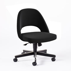 Saarinen Executive Armless Chair with Swivel Base Side/Dining Knoll Hard Ultrasuede - Black Onyx