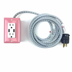 12' EXTO DUAL-USB, DUAL-OUTLET - CANDY PINK