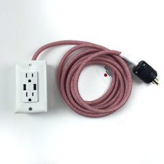 12' Exto Dual-Usb, Dual-Outlet - Whitewash Accessories Conway Electric Whitewash White w/ White & red Herringbone Cord