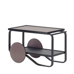 Tea Trolley 901 Carts / Trolleys Artek Birch-Black Lacquered-Peat Linoleum-Charcoal Linoleum-Peat Lacquer with Black Rubber Ring / HELLA JONGERIUS RE-INTERPRETATION