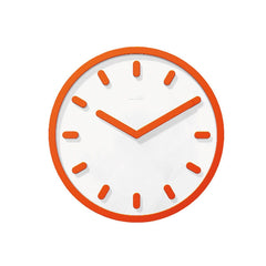 Tempo Wall Clock Clocks Magis white face matt color with orange hands. marks and frames