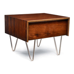 Case Study V-Leg Bedside Table side/end table Modernica Walnut Stain Metal Legs