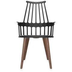 Comback 4-Leg Chair Side/Dining Kartell black body / oak stained legs