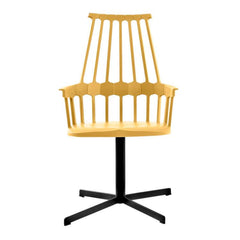 Comback Swivel Base Chair Side/Dining Kartell yellow body / black base