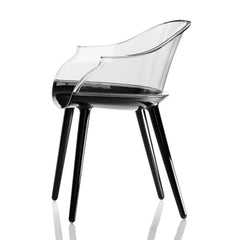Cyborg Armchair Side/Dining Magis Glossy Black Legs/Transparent Clear Back