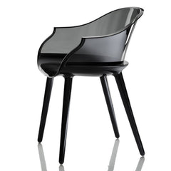 Cyborg Armchair Side/Dining Magis Glossy Black Legs/Transparent Smoke Grey Back