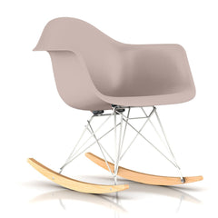 Eames Molded Plastic Armchair Rocker rocking chairs herman miller White Base Frame Finish Solid Natural Maple Rocker Stone