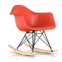 Eames Molded Plastic Armchair Rocker rocking chairs herman miller Black Base Frame Finish Solid Natural Maple Rocker Red Orange