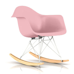 Eames Molded Plastic Armchair Rocker rocking chairs herman miller White Base Frame Finish Solid Natural Maple Rocker Blush