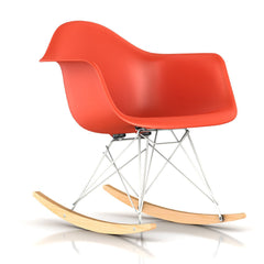 Eames Molded Plastic Armchair Rocker rocking chairs herman miller White Base Frame Finish Solid Natural Maple Rocker Red Orange