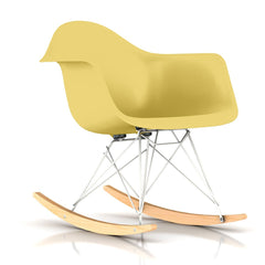 Eames Molded Plastic Armchair Rocker rocking chairs herman miller White Base Frame Finish Solid Natural Maple Rocker Pale Yellow