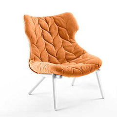 Foliage Lounge Chair lounge chair Kartell white legs trevira - orange (B)
