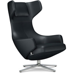 Grand Repos Lounge Chair lounge chair Vitra Polished 16.1-Inch Leather Contrast - Asphalt - 67 +$730.00