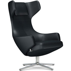 Grand Repos Lounge Chair lounge chair Vitra Polished 18.1-Inch Leather Contrast - Asphalt - 67 +$730.00