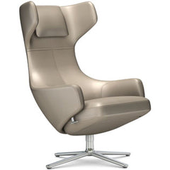 Grand Repos Lounge Chair lounge chair Vitra Polished 18.1-Inch Leather Contrast - Sand - 71 +$730.00